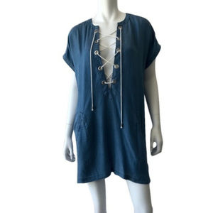 Other - Blue Island Plunge Lace Up Cover Up